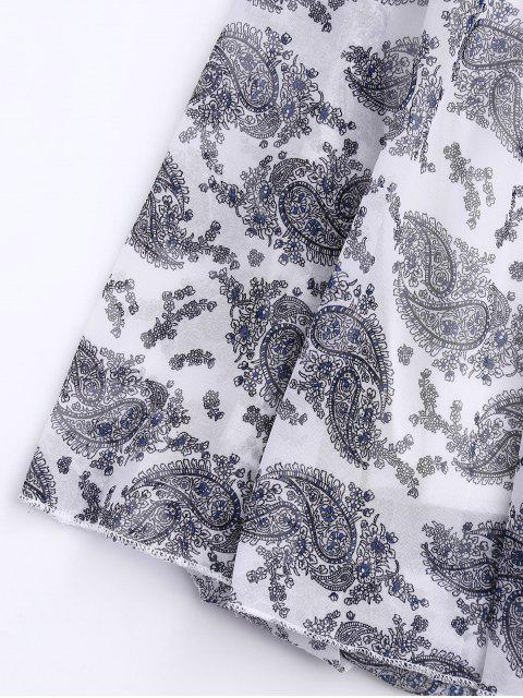 hot Off Shoulder Shirred Waist Paisley Choker Dress - WHITE ONE SIZE Mobile