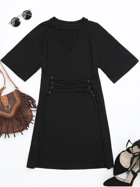 shops Corset Waist Choker T-shirt Dress - BLACK S Mobile