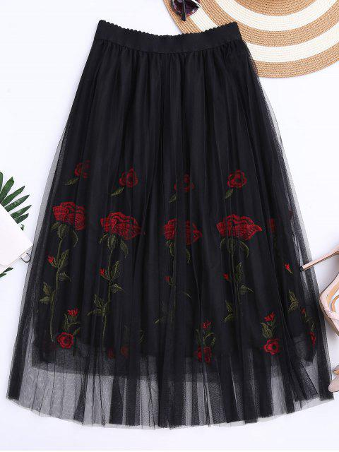 fancy Embroidered High Waisted Mesh Skirt - BLACK ONE SIZE Mobile