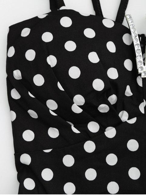 unique Padded Polka Dot Crop Top and Circle Skirt - BLACK ONE SIZE Mobile