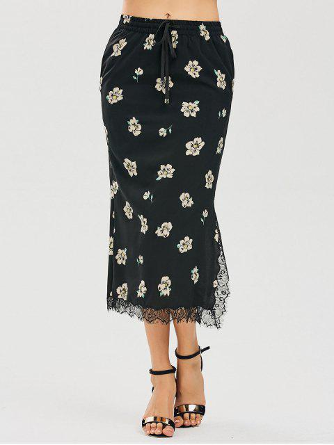 Jupe maxi floral fendu insérée dentelle - Floral L Mobile