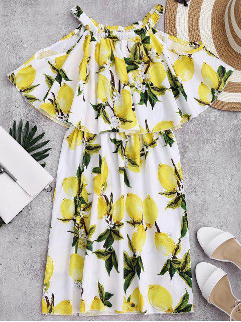 Aus der Schulter Limonin Print Overlay Kleid - Weiß S Mobile