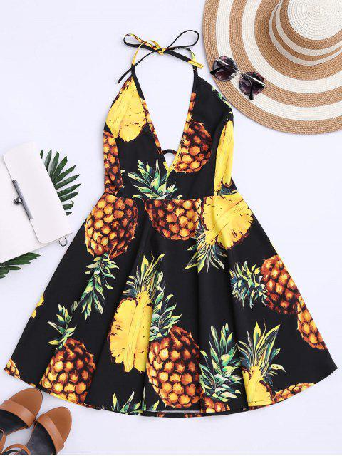 affordable Tropical Pineapple Halter Swing Dress - BLACK 2XL Mobile