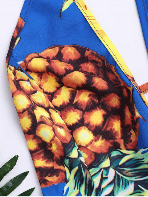 womens Tropical Pineapple Halter Swing Dress - BLUE XL Mobile