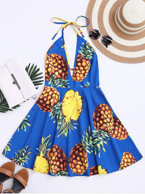 womens Tropical Pineapple Halter Swing Dress - BLUE XL Mobile