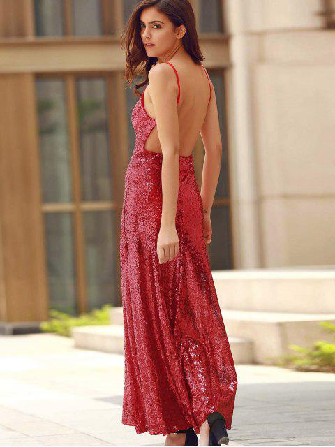 shop Backless Sequins Spaghetti Strap Maxi Dress - RED XS Mobile