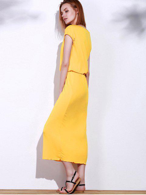 best Blouson Maxi Dress - YELLOW M Mobile