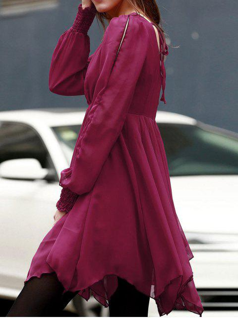 outfit Long Sleeve Chiffon Flowing Dress - RED XL Mobile