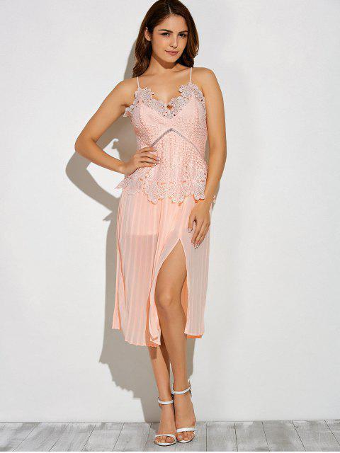 Slit Lace Spliced Slip Kleid - Pink L Mobile
