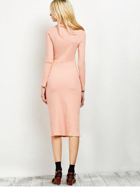 ladies Turtleneck Ribbed Knit Midi Bodycon Dress - PINK ONE SIZE Mobile