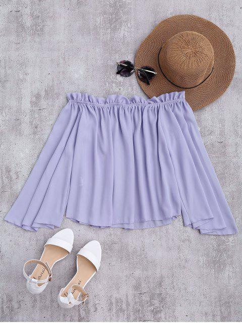 new Chiffon Off The Shoulder Ruffles Blouse - LIGHT PURPLE S Mobile