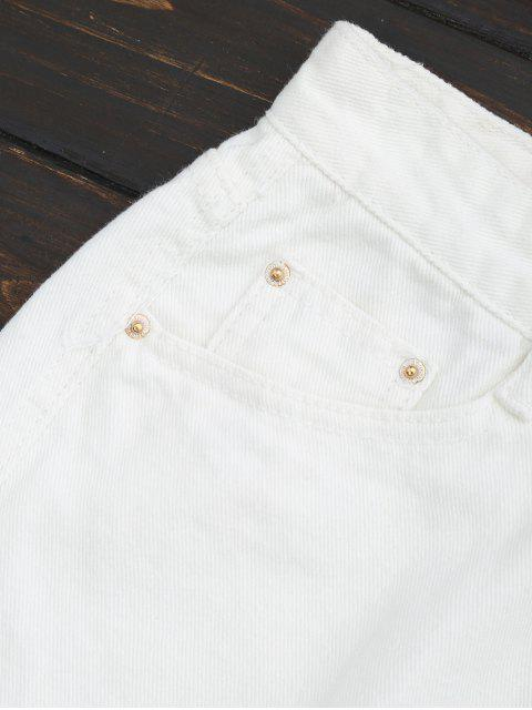 online Wide Leg Frayed Hem Denim Shorts - WHITE S Mobile