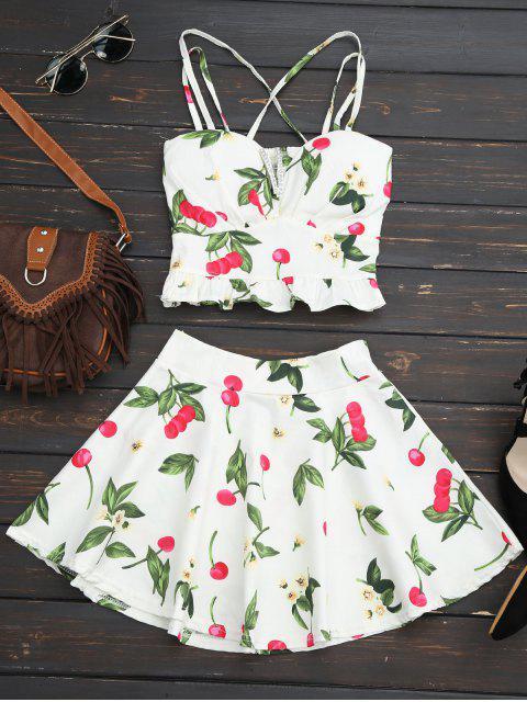 Cherry Print Zwei Stück Skater Kleid - Weiß Eine Größe Mobile