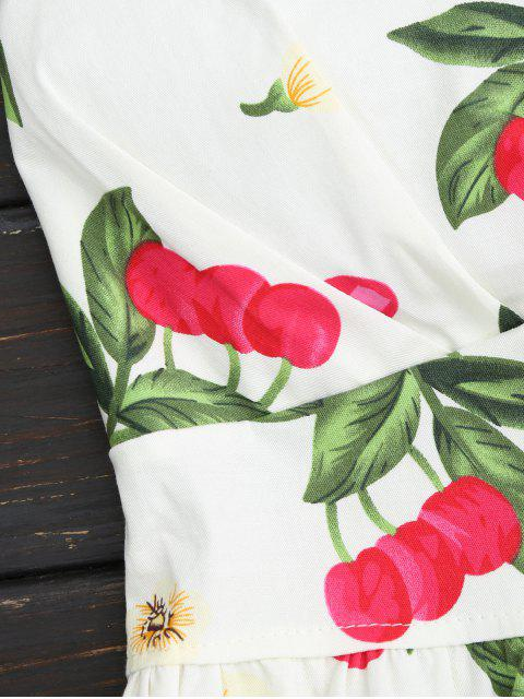 women's Cherry Print Two Piece Skater Dress - WHITE ONE SIZE Mobile