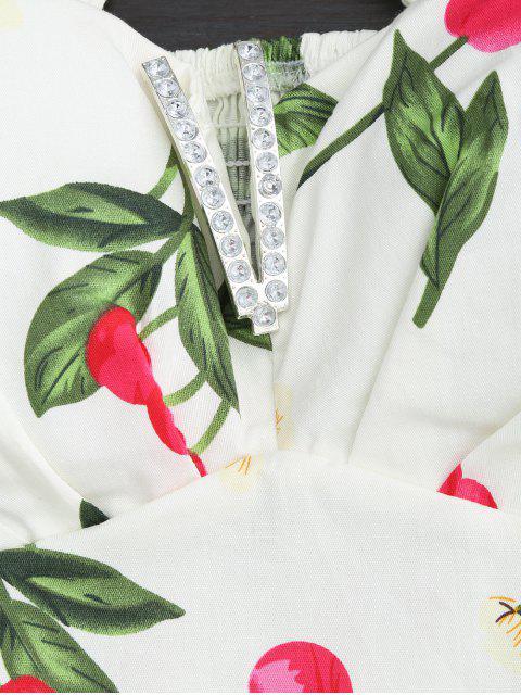 Robe à deux pièces à taille haute imprimée de motif de cerise - Blanc Taille Unique Mobile