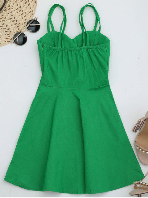 women Fit and Flare Strappy Mini Dress - GREEN ONE SIZE Mobile