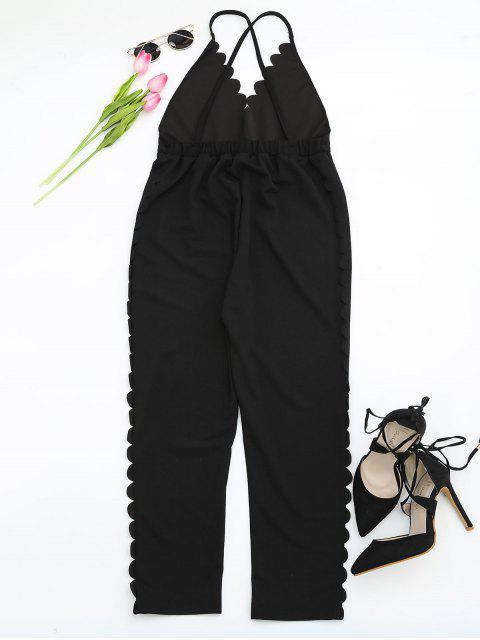 ladies Scalloped Straight Cut Suspender Pants - BLACK S Mobile