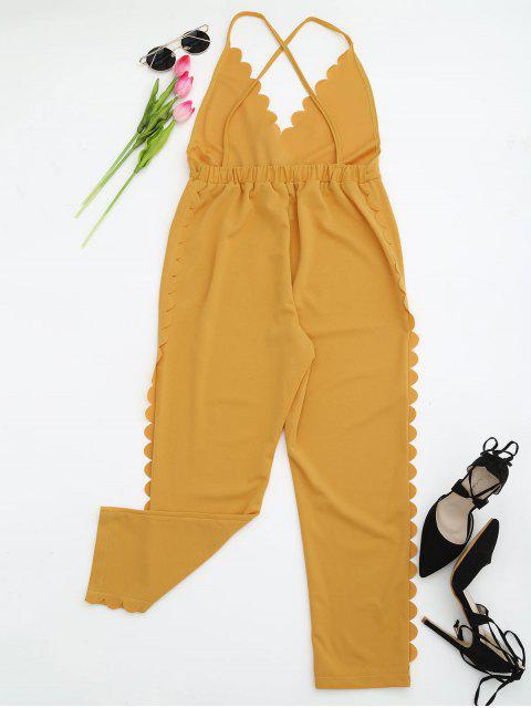 hot Scalloped Straight Cut Suspender Pants - YELLOW L Mobile