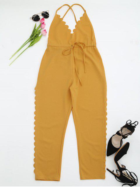 Pantalones Escotados Rectos de Tirantes con Ribete Festoneado - Amarillo M Mobile