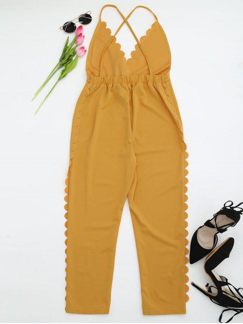 outfits Scalloped Straight Cut Suspender Pants - YELLOW S Mobile