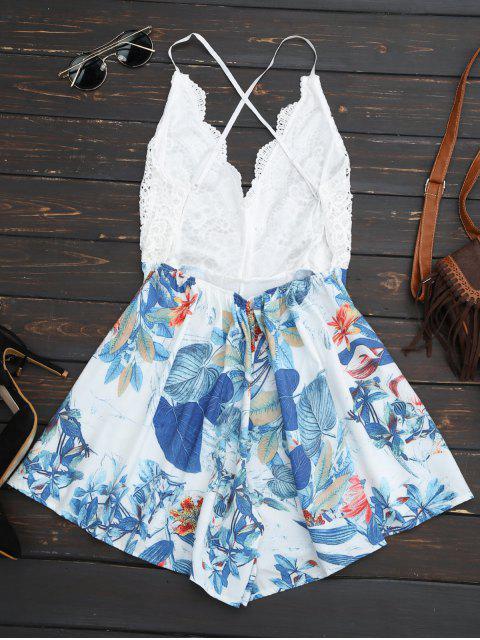 combinaison de plage à dos-nu imprimée en motif tropical - Blanc S Mobile
