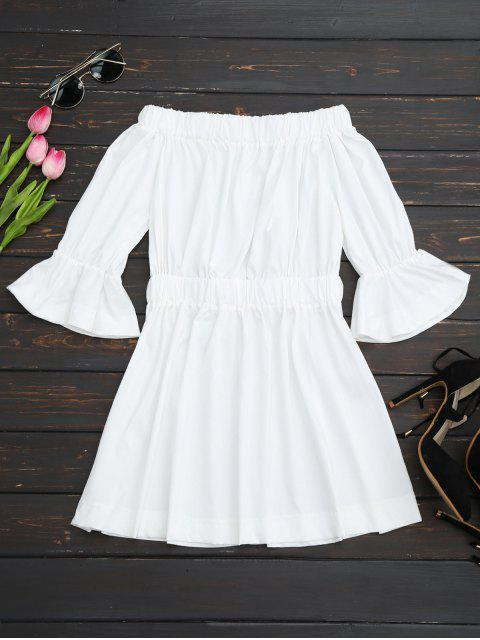 latest Bell Cuffs Off The Shoulder Dress - WHITE M Mobile