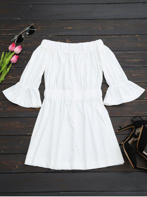 fashion Bell Cuffs Off The Shoulder Dress - WHITE XL Mobile