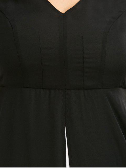 Robe maxi à mollet color block col V grande taille - Noir 5XL Mobile