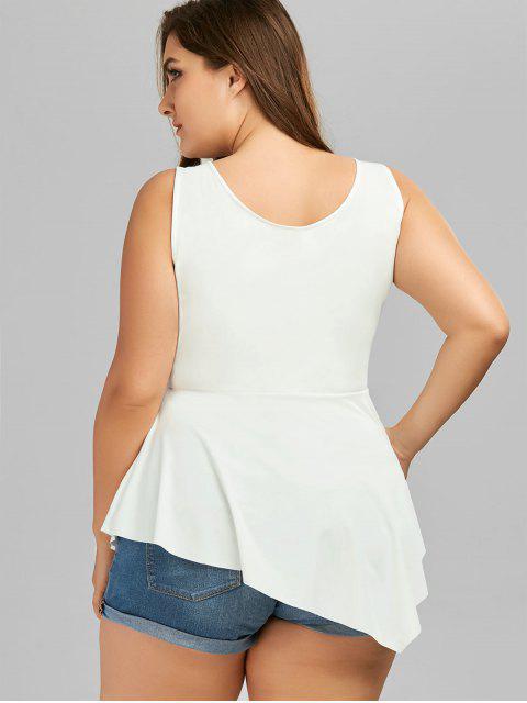 ladies V Neck Crisscross Asymmetrical Plus Size Top - WHITE XL Mobile