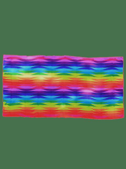Couverture de plage en mousseline de soie rayée géométrique imprimée arc-en-ciel - Coloré  Mobile