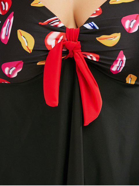 shop Plus Size Printed Halter Padded Tankini Swimsuit - BLACK 4XL Mobile