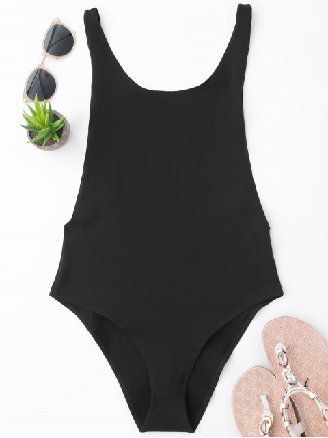 Skinny Sleeveless Backless Bodysuit - Negro S Mobile