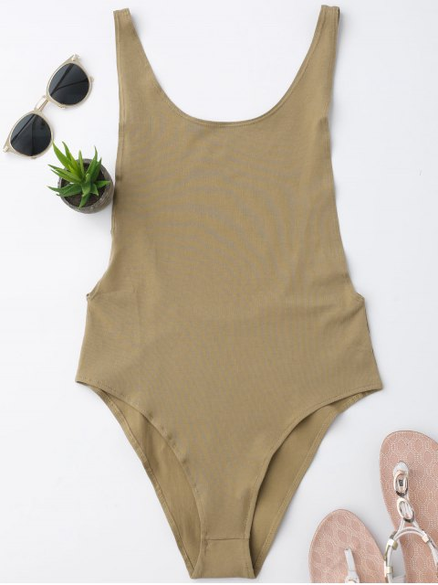 fancy Skinny Sleeveless Backless Bodysuit - KHAKI S Mobile
