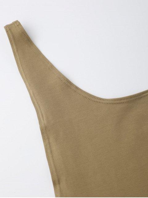 fancy Skinny Sleeveless Backless Bodysuit - KHAKI S Mobile
