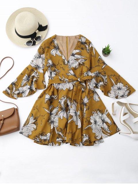 best Belted Flare Sleeve Floral Surplice Dress - FLORAL M Mobile