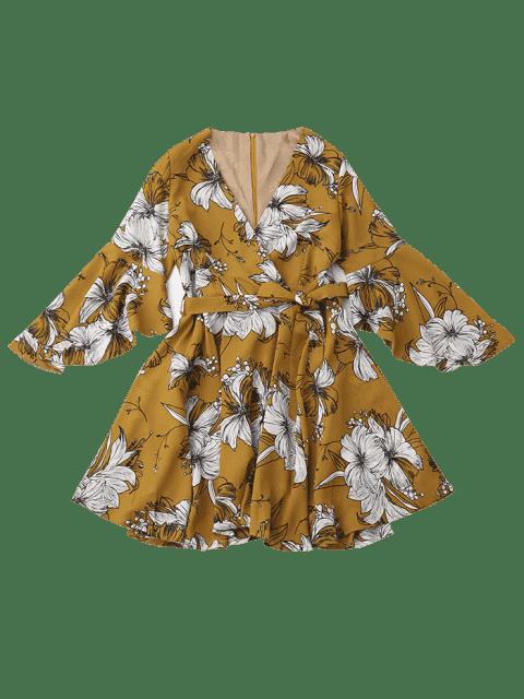 Robe surplise florale ceinturée à manches évasées - Floral L Mobile