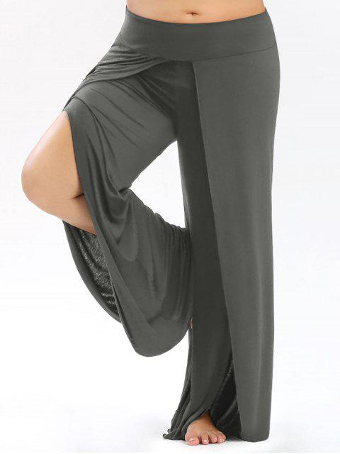 Pantalons Palazzo grande taille avec haut Split - gris 4XL Mobile