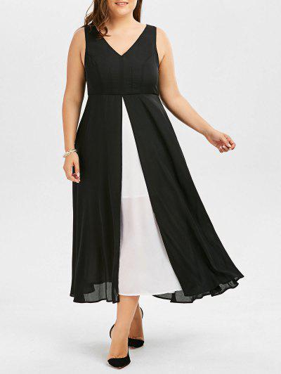 V Neck Plus Size Color Block Tea Length Dress - Black 3xl