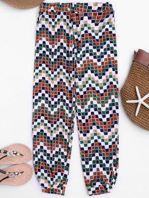 Soft Mosaic Pattern Slouchy Pants