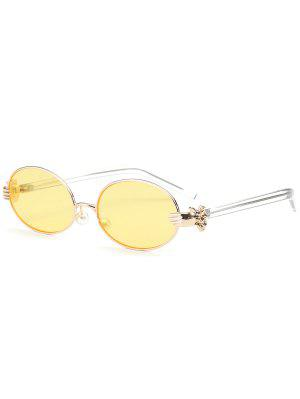 Metal Hand Faux Pearl Nose Pad Oval Sunglasses - Yellow
