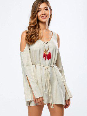 Cold Shoulder Split Sleeve Dress - Off-white 2xl