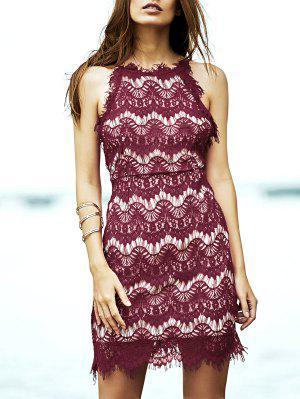 Red Lace Spaghetti Straps Semi Formal Dress - Red 3xl