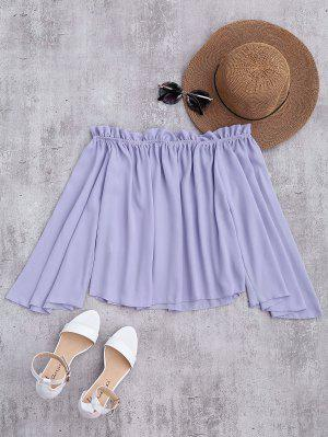 Chiffon Off The Shoulder Ruffles Blouse - Light Purple M