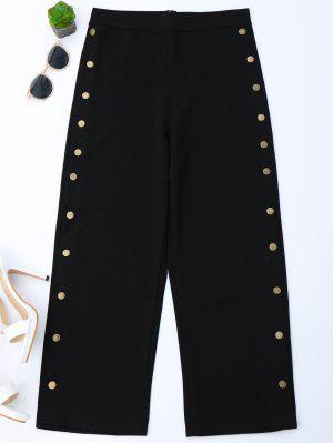 High Waisted Buttons Side Gaucho Pants - Black L