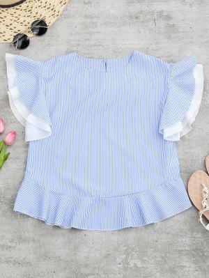 Round Neck Striped Ruffle Sleeve Blouse - Blue