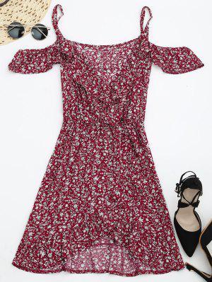 Vestido Cruzado Con Hombros Al Aire Con Estampado De Flores Minúsculos - Rojo S