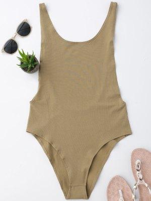 Skinny Sleeveless Backless Bodysuit - Khaki S