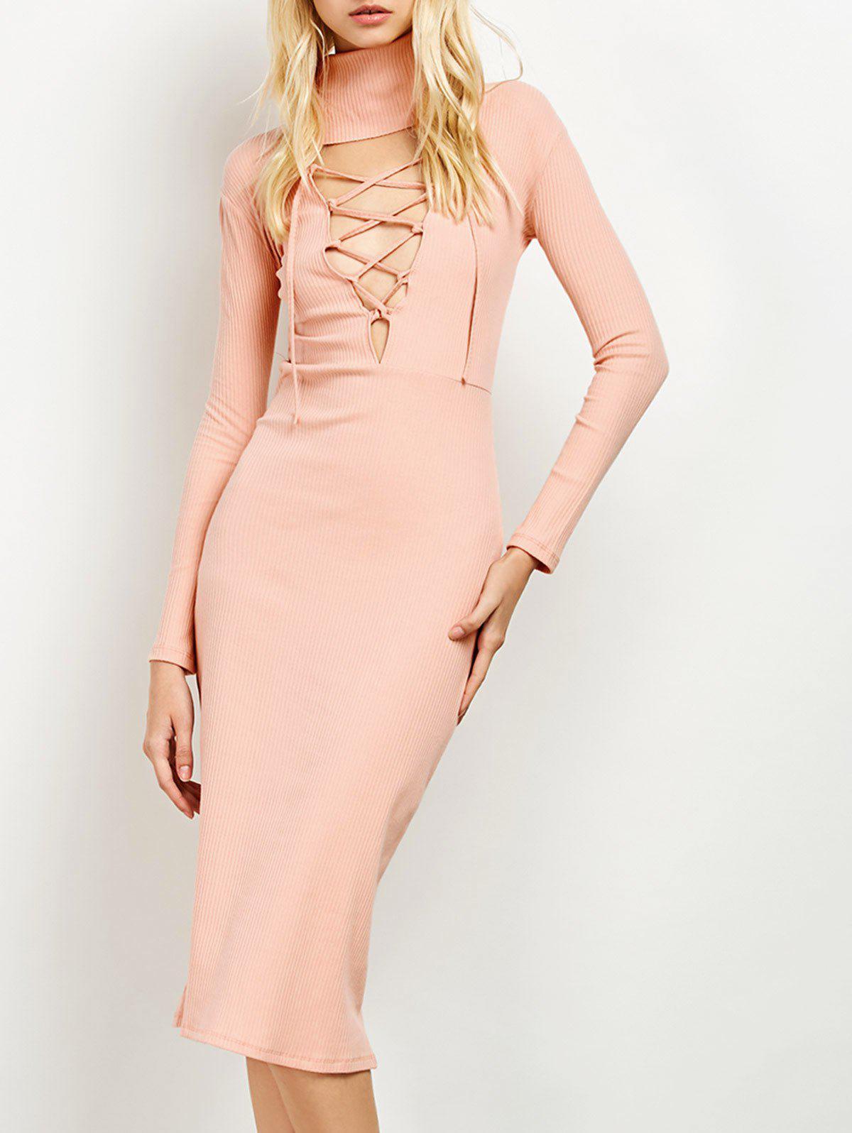 Turtleneck Ribbed Knit Midi Bodycon Dress 201247303