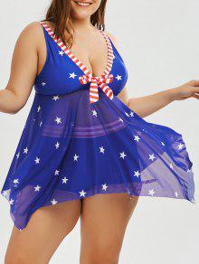 بالإضافة إلى حجم وطني العلم الأميركي سكيرتد تانكيني - أزرق Xl