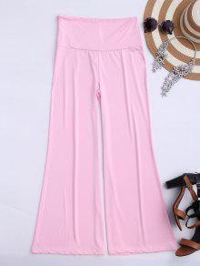 Soft High Waisted Palazzo Pants - Pink 2xl